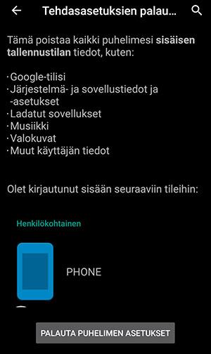 Android-tyhjennys